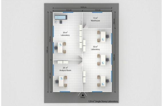 Модульдік Зертханалық 129 м²