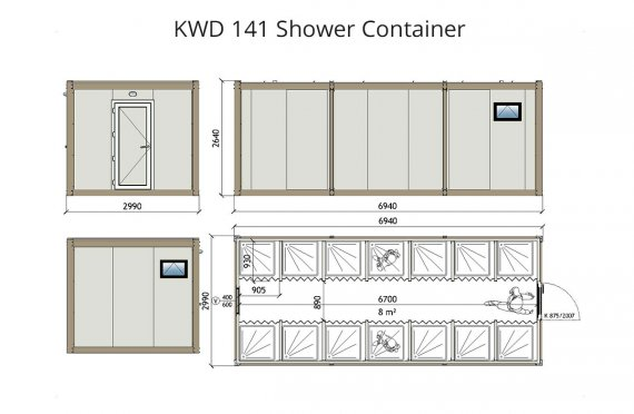 KWD 141 Душ Контейнер