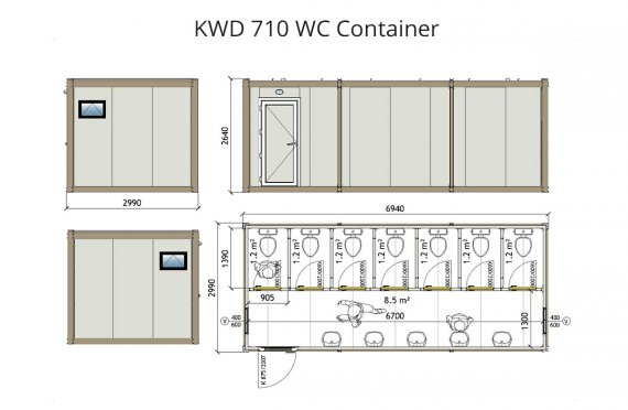 KWD 710 Дәретхана Контейнер