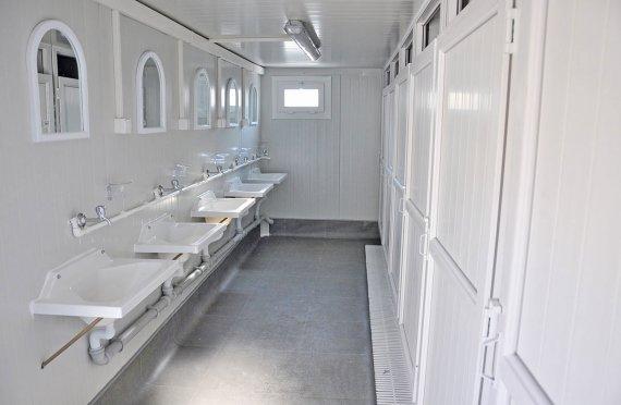 Портативті Туалет Блоктан Салынған | Уақытша Сайт Мобильді Дәретхана Душ