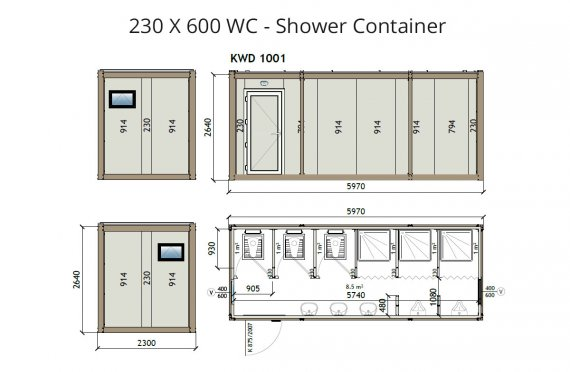 Туалет+Душ 230X600 Блок контейнер
