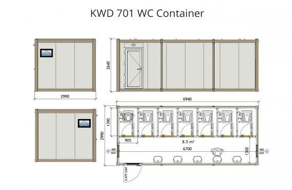 Туалет 300x700 Блок контейнер KWD 701