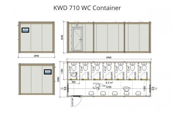 Туалет 300x700 Блок контейнер KWD 710