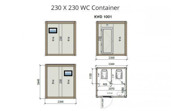 Туалет 230X230 Блок контейнер KW2