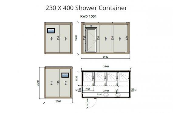 Душ 230X400 Блок контейнер KW4