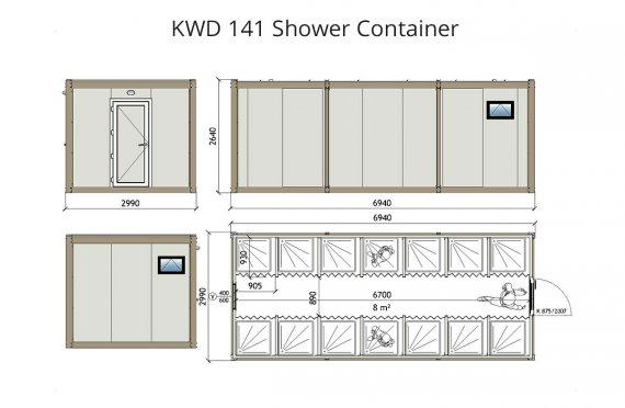 Душ 300x700 Блок контейнер KWD 141