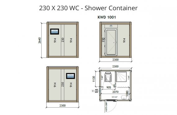 Туалет+Душ 230X230 Блок контейнер KW2