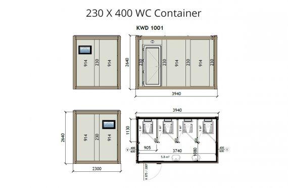 Туалет+ Душ 230X400 Блок контейнер KW4