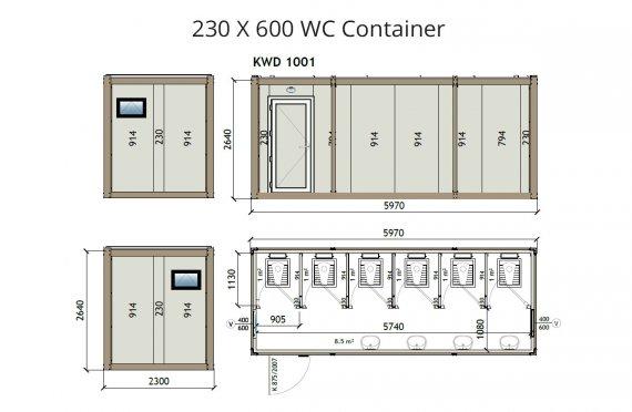 Туалет 230X600 Блок контейнер