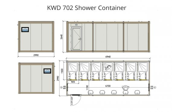 Душ 300x700 Блок контейнер KWD 702