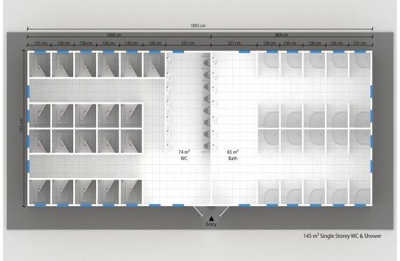 145 м² Туалетно душевой комплекс